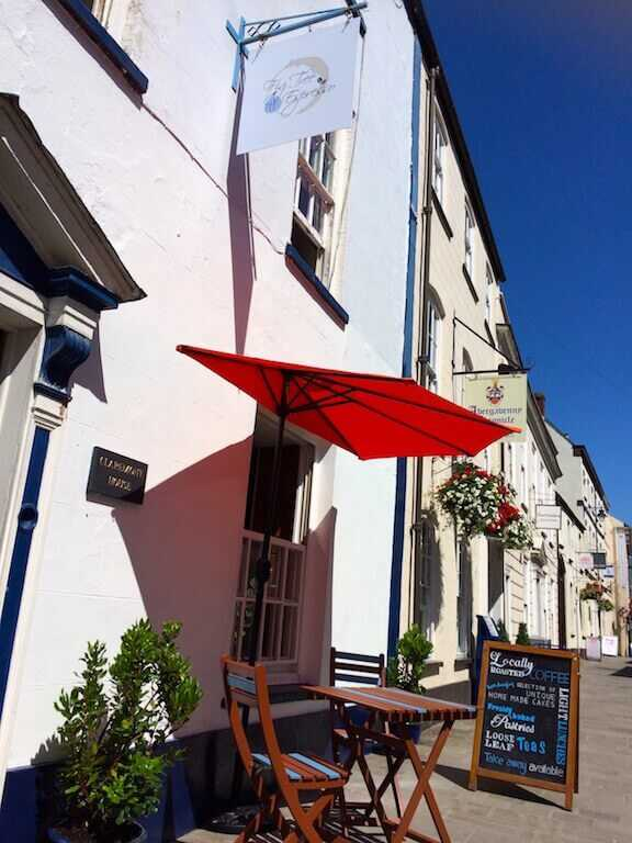 The front of the best Abergavenny coffee shop in town on a nice sunny day