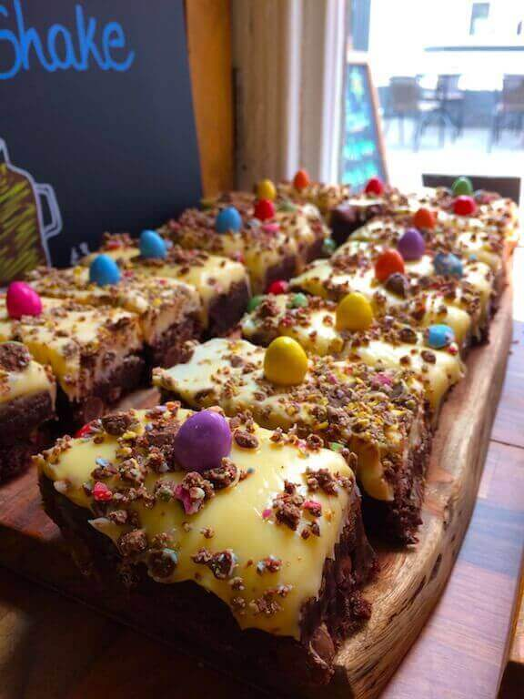 Brownies from the bakery covered in mini eggs