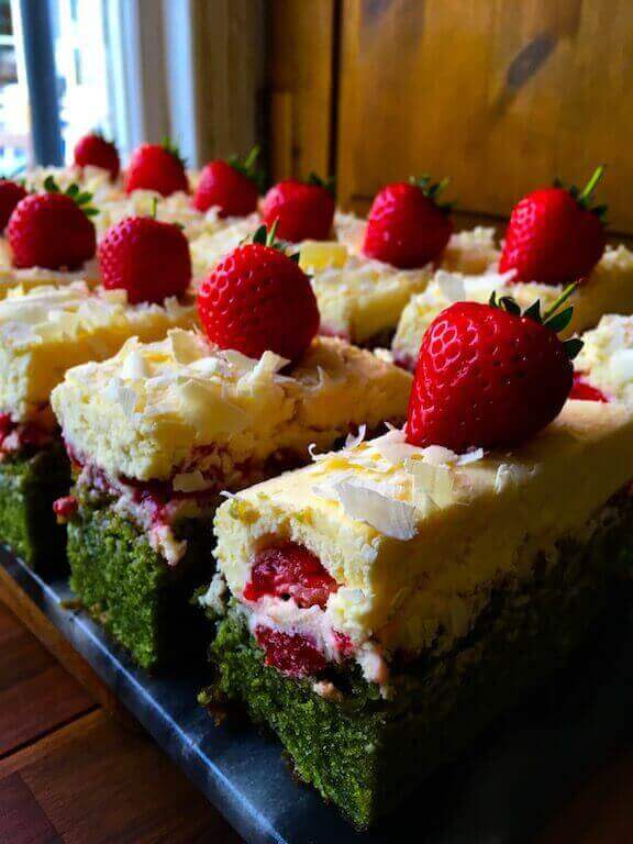 A strawberry, mint and white chocolate bake